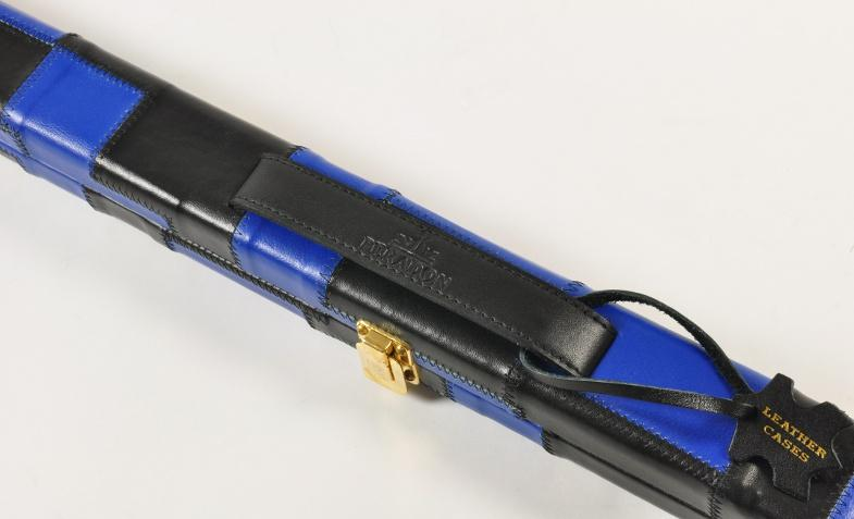 Peradon Thin One Piece Leather Case Black and Blue Patchwork (Close up)