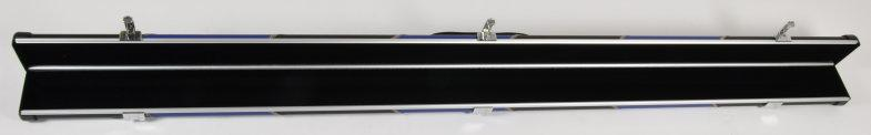 Peradon Halo Three-Quarter Black/Blue Stripe Leather Effect Aluminium Case (Open)