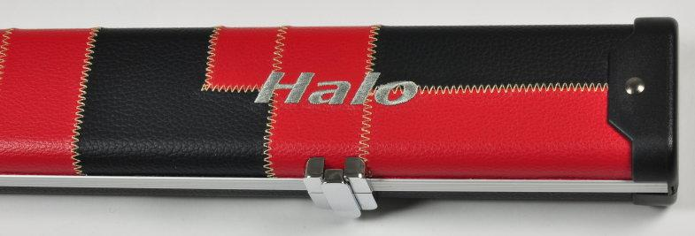Peradon Halo Three-Quarter Black/Red Patchwork Leather Effect Aluminium Case (Close Up, Closed)