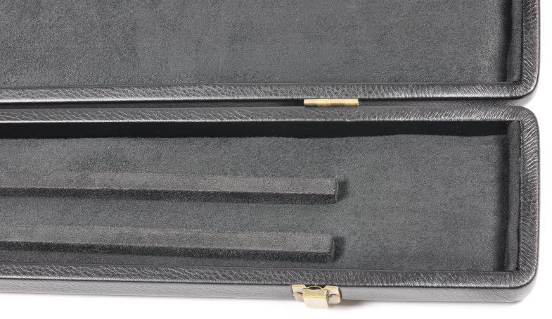 Peradon Three-Quarter Black Leather Effect Case (Wide) (Close Up, Open)
