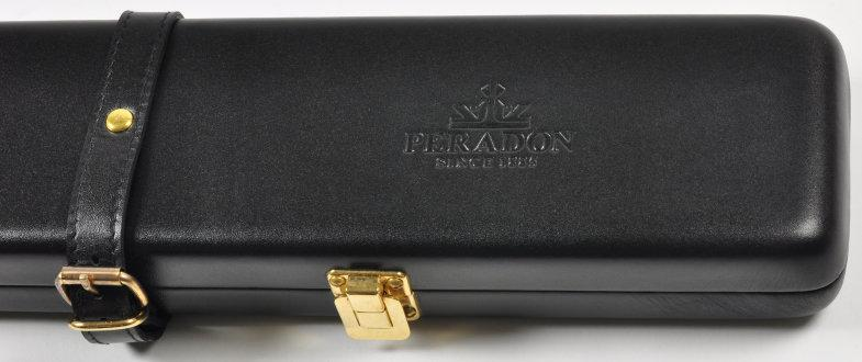 Peradon black two-piece leather case (close-up, closed)