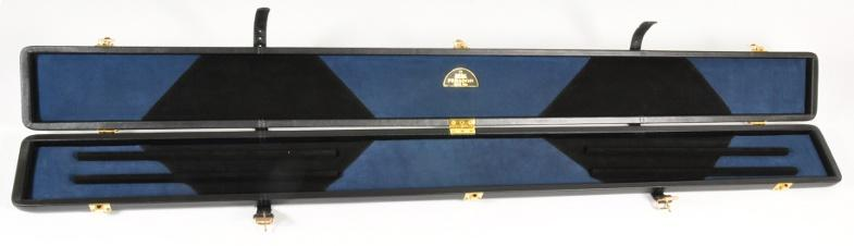 Peradon Three-Quarter Black and Blue Large Diamond Cue Case (Open)