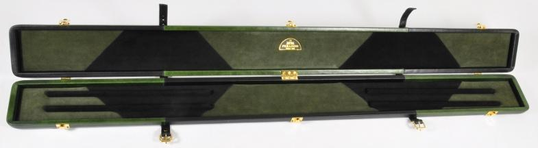 Peradon Three-Quarter Black and Green Cue Case (Open)
