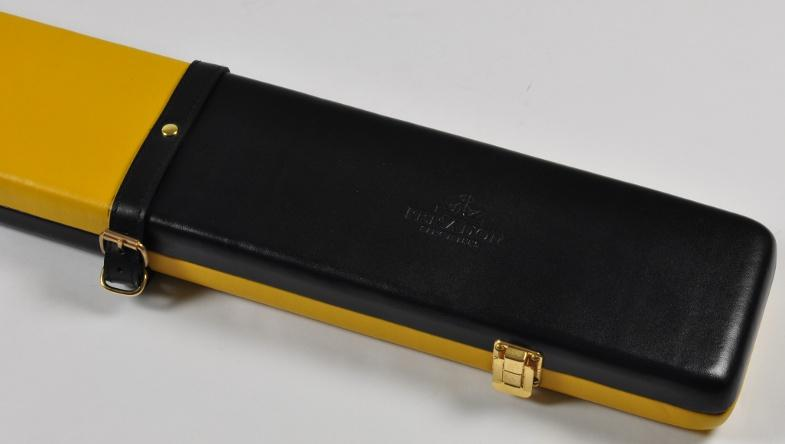 Peradon Three-Quarter Black and Yellow Cue Case (Close up)