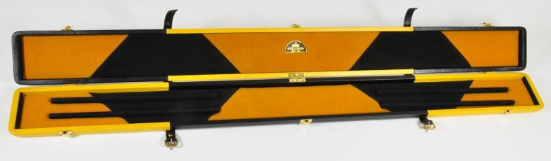 Peradon Three-Quarter Black and Yellow Cue Case (Open)