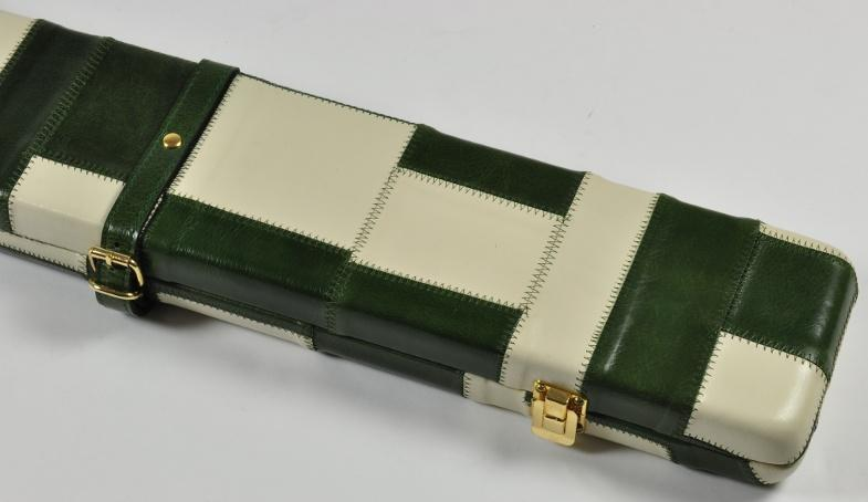 Peradon Three-Quarter Green and Cream Patchwork Cue Case (Close up)