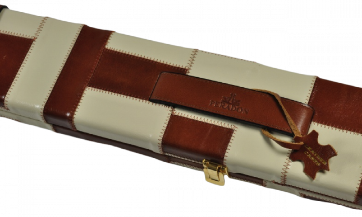 Peradon Three-Quarter Tan and Cream Patchwork Cue Case (Close up)