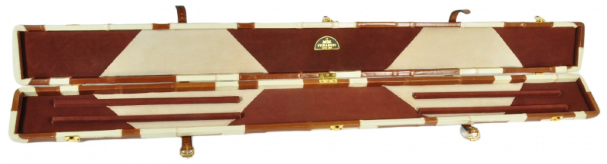 Peradon Three-Quarter Tan and Cream Patchwork Cue Case (Open)
