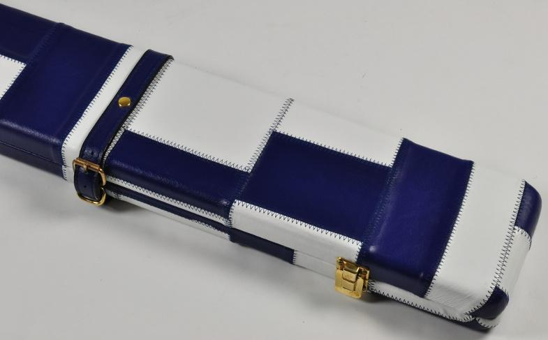 Peradon Three-Quarter White and Blue Patchwork Cue Case (Close up)