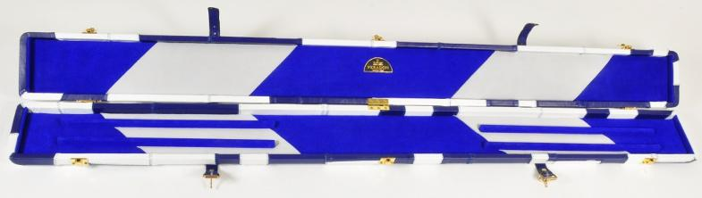 Peradon Three-Quarter White and Blue Patchwork Cue Case (Open)
