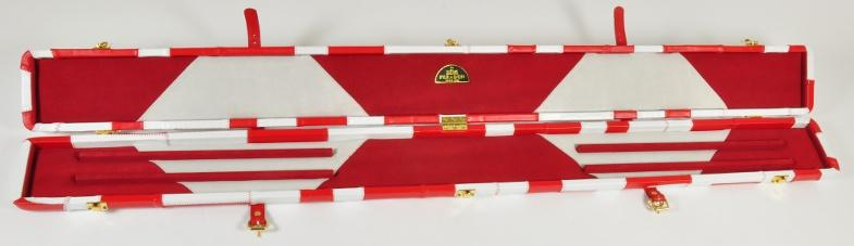 Peradon Three-Quarter White and Red Patchwork Cue Case (Open)