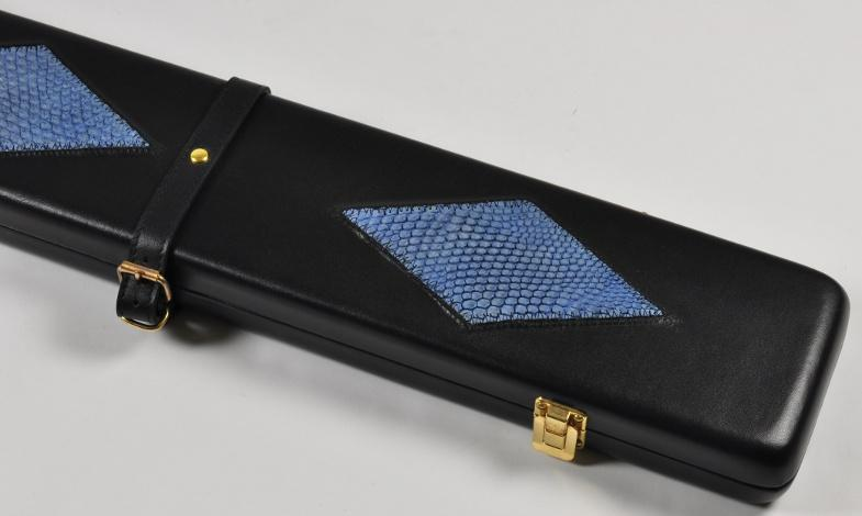 Peradon Three-Quarter Black and Blue Large Diamond Cue Case (Close up)